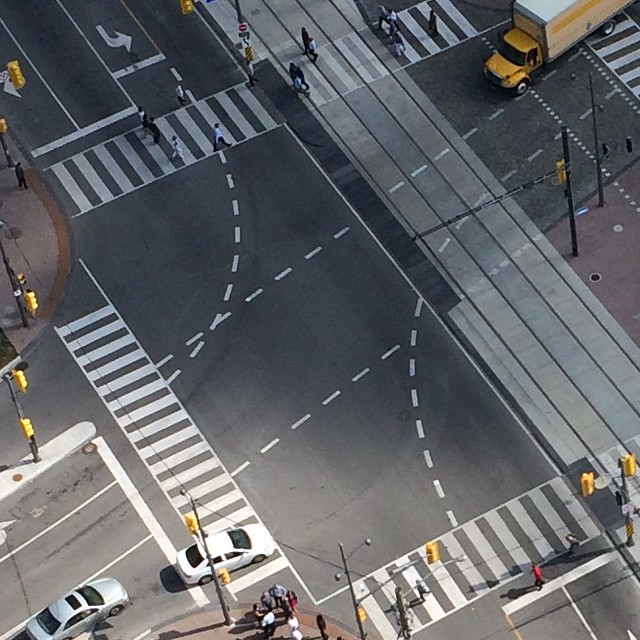 Intersection From Above (with dotted lines and approaching cloud)