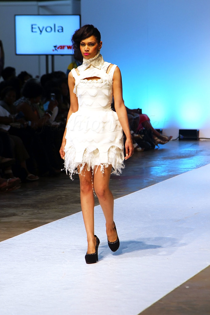 Eyola-collection-at-AFWL15,boob tube peplum gown, pencil dress with front slit