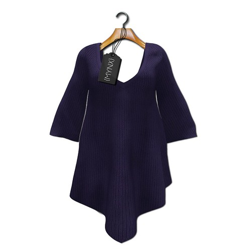 {MYNX} Sweater Poncho - Blue
