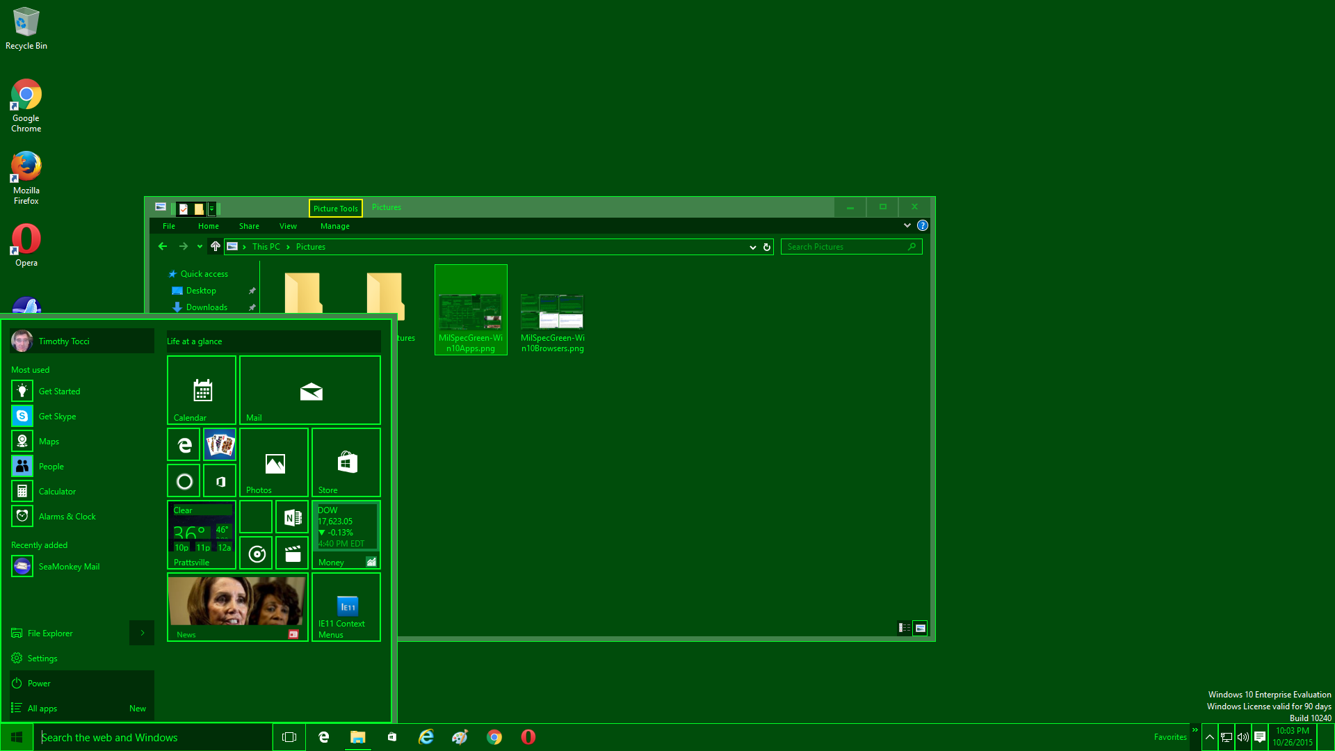 MilSpecGreen Windows 10 Start Menu