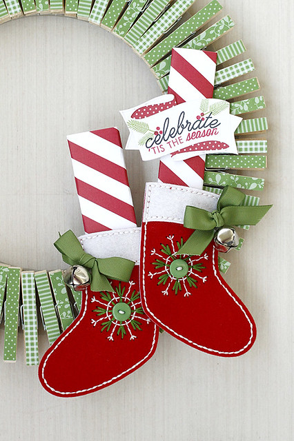 Elf Feet on a Clothespin Wreath with Dies from Papertrey Ink