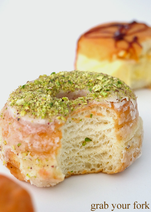 Inside The Butternut donut with crushed pistachios at Doughnut Time at Central Park, Chippendale