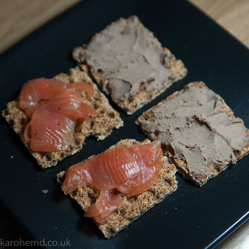 Nibbles: whisky cured salmon and duck liver parfait