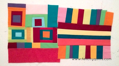 Both #beesewcial blocks for Leanne @shecanquilt. #beesewcial #inspiredbybeeswecial All of the colours + no rulers = fun.