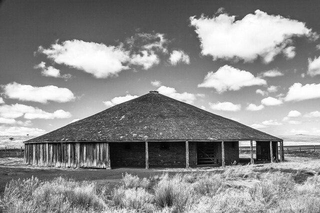 The Round Barn In Black And White