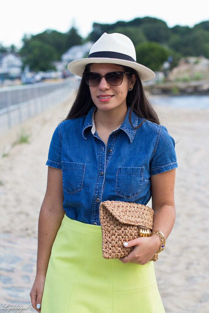 chambray shirt, neon skirt, panama hat-1.jpg
