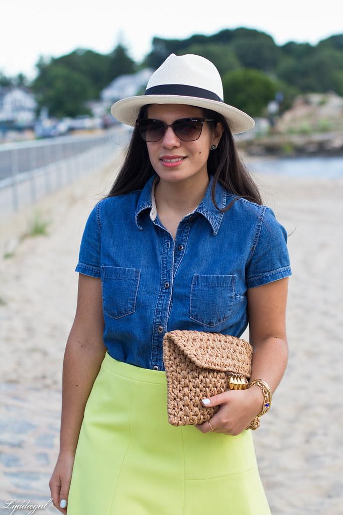 chambray shirt, neon skirt, panama hat-1.jpg