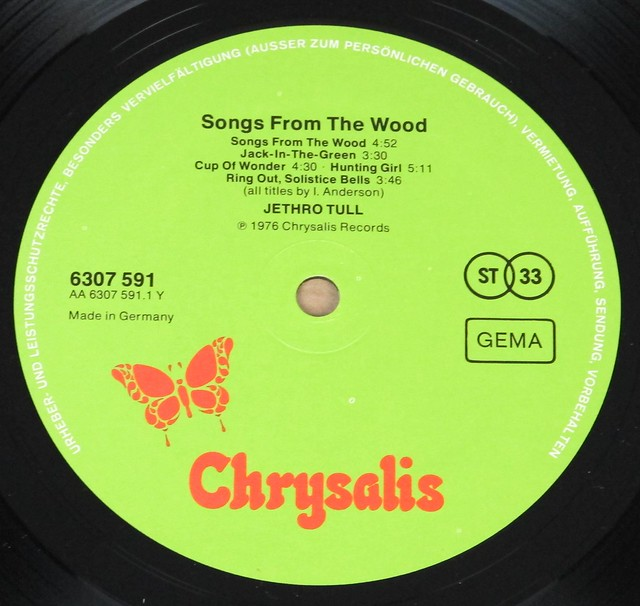 """JETHRO TULL SONGS FROM THE WOOD 12"""" LP"""