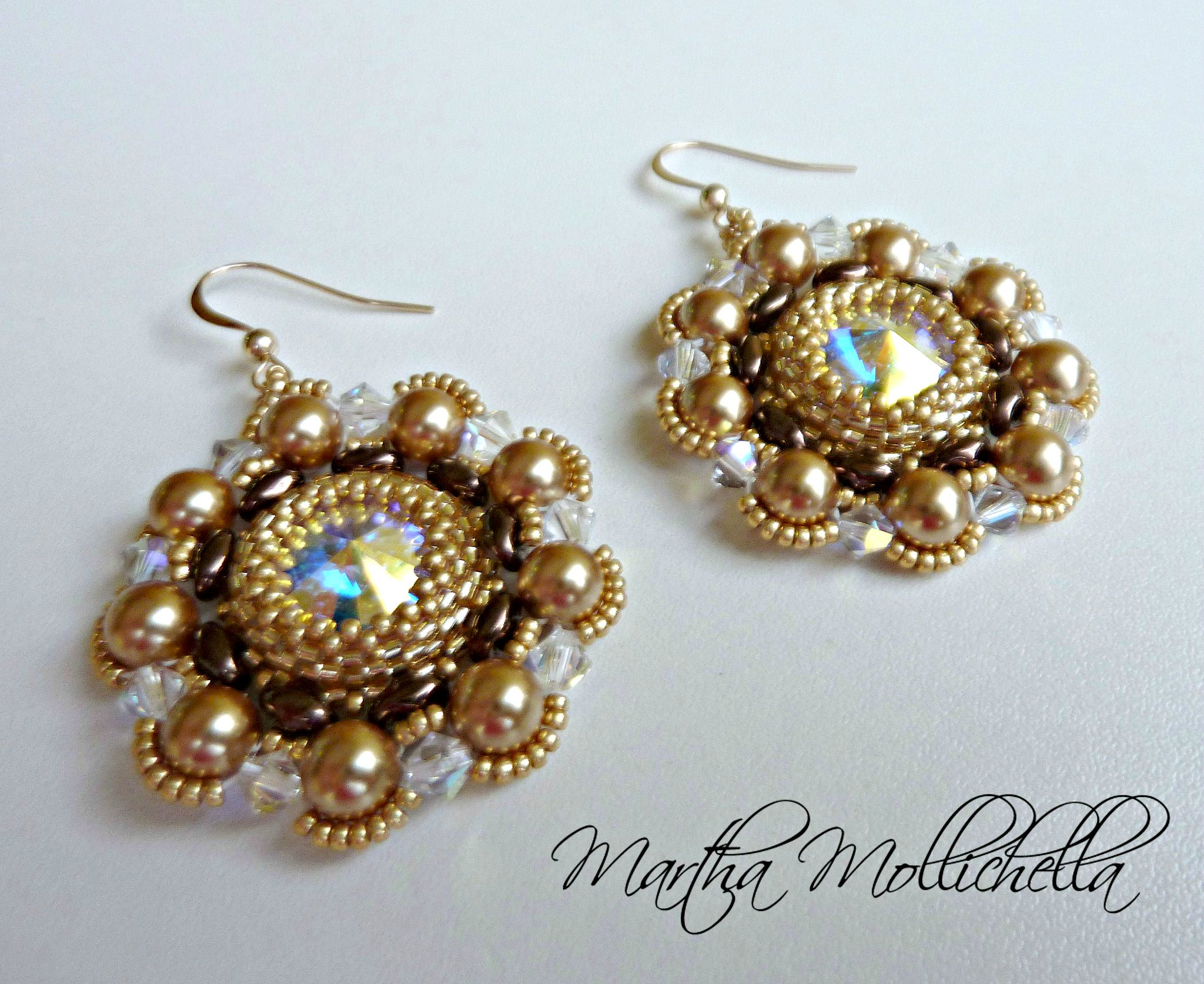 Swarovski handmade earrings with gold filled hook