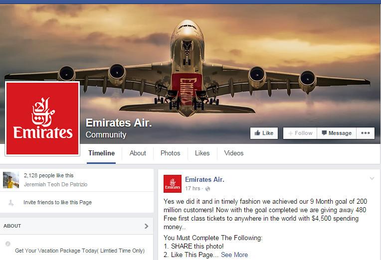 emirates air fake page