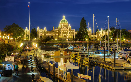 The Blue Hour View Of British Columbia Parliament Buildings and Inner Harbour, Victoria, Canada :: HDR