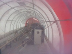Photo of the inside of the drilling tent after its first winter-over at the South Pole.