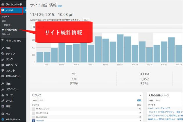 ジェットパックサイト統計情報ページ