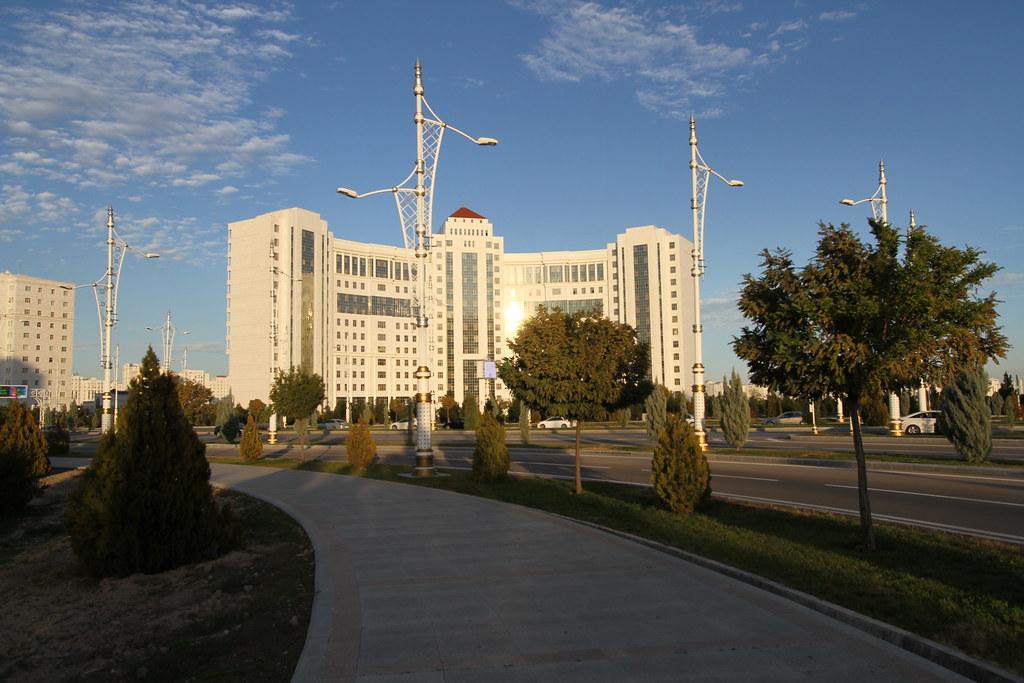 Typical empty urban scene of Asgabat, Turkmenistan