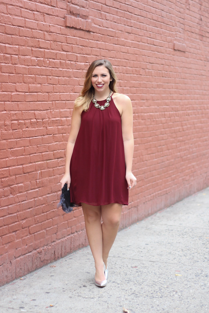 Burgundy Trapeze Dress | Silver Metallic Pumps | Holiday Christmas Outfit