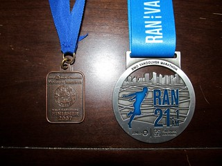 Vancouver BMO half marathon mdeals - 2007 and 2015