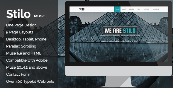 Stilo v1.0 – Creative Parallax One Page MUSE Template