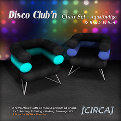 "@ GENRE ~ [CIRCA] - ""Disco Club'n"" - Chair Set - Aqua_Indigo_Blk Velvet"