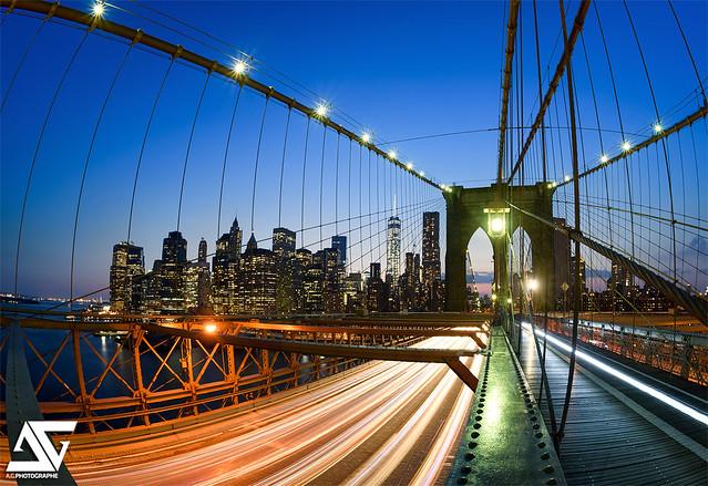Sunset on Brooklyn Bridge