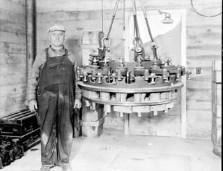 Worker at Diablo Dam powerhouse, 1936