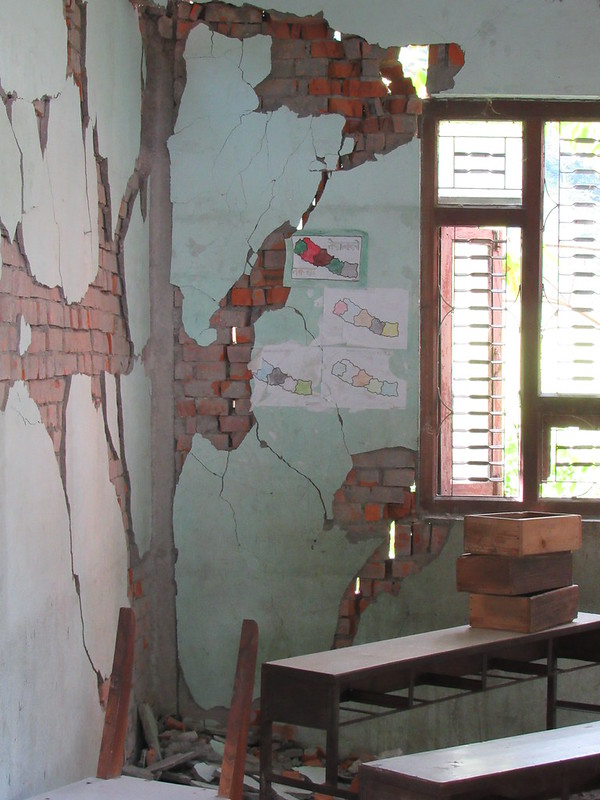 classroom destroyed by the earthquake