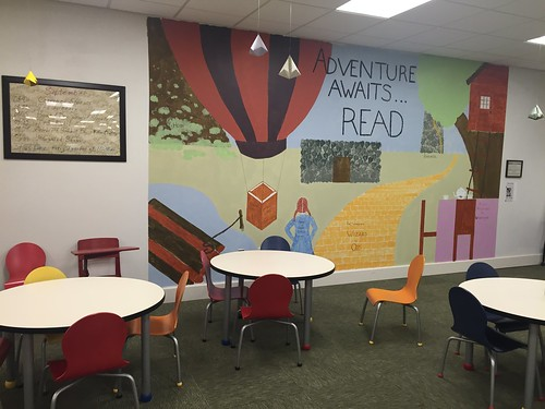 Mural with tables and new writing board