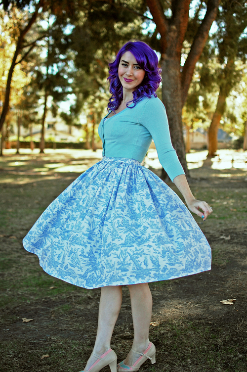 Bernie Dexter Paris Dress in Blue Toile Print
