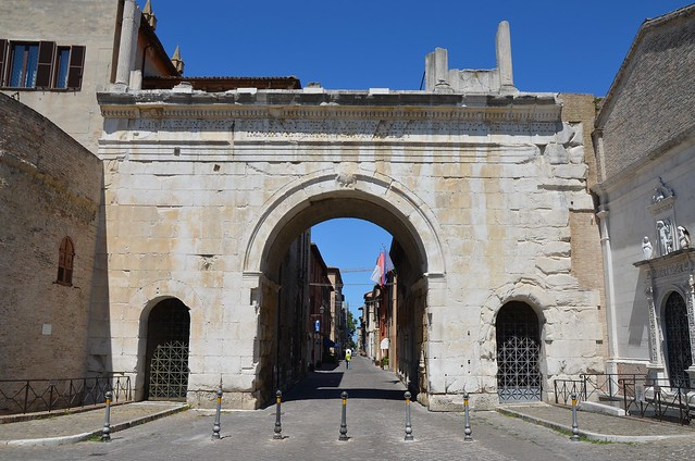 The Arch of Augustus, a city gate in the form of a triumphal arch with three vaults, the entrance to the city of Colonia Julia Fanestris by the via Flaminia, Fano, Italy