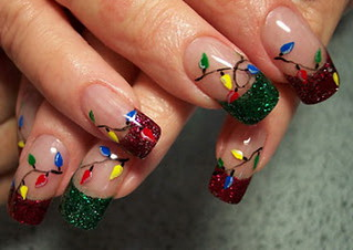 nails-Christmas lights