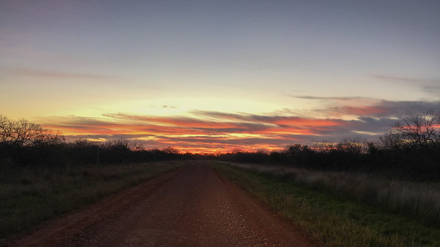 Sunrise headed towards the Womack Ranch
