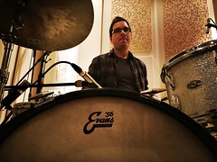 Recording drums with Crushed Stars. @jryanpla (Jeff Ryan) on drums. We broke out the Evans Calftone heads for a nice open, non-ported resonant kick. Really nice balance of overtones, without too much note. Also, those 60's Slingerlands of mine have really
