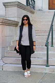 long black vest, striped shirt, white mules, black pants-1.jpg