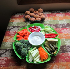 Veggie Tray and Banana-Pecan Muffins
