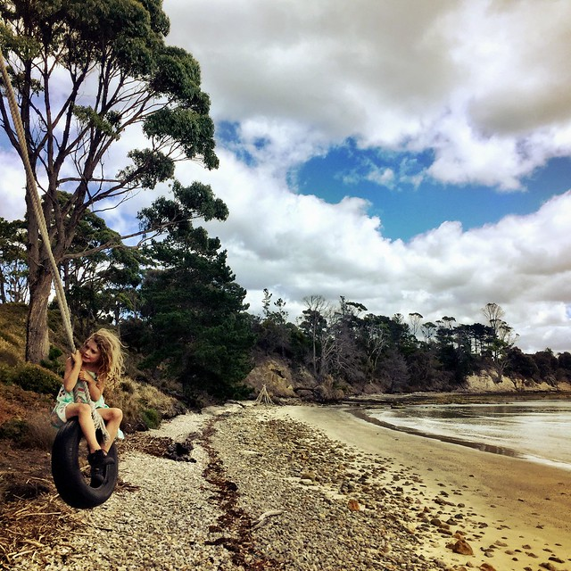 Tyre swing. DB. Sheoak Point. Bruny Island.