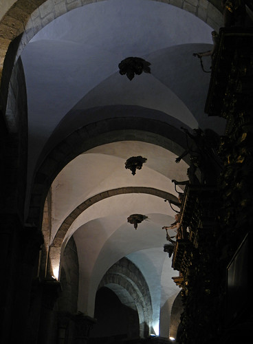 Vaulted ceiling with arches inside the cathedral in Santiago de Compostela, Spain