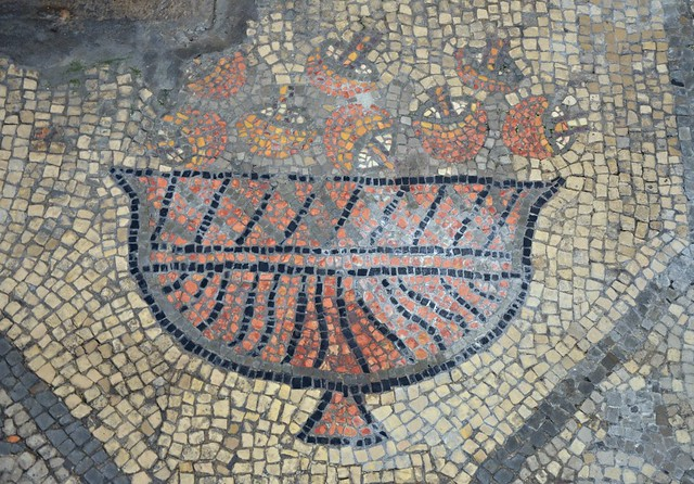 A detail from part of an early 4th century AD mosaic depicting a basket of mushrooms belonging to the floor of the Theodorian transversal hall, Basilica di Santa Maria Assunta, Aquileia, Italy