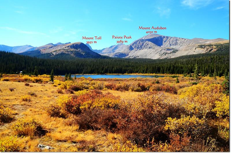 Brainard Lake under Mount Audubon with Mount Toll and Paiute Peak visible 2