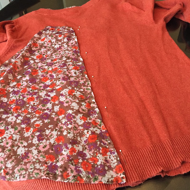 Flowy Fall Flowers Sweater - In Progress