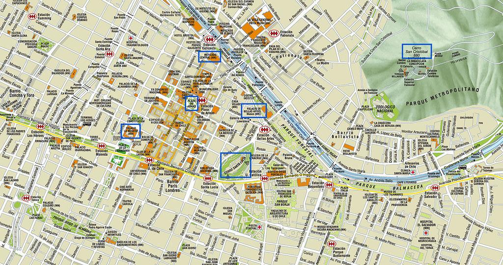 Turismo santiago de chile mapa for Mapa de santiago de chile