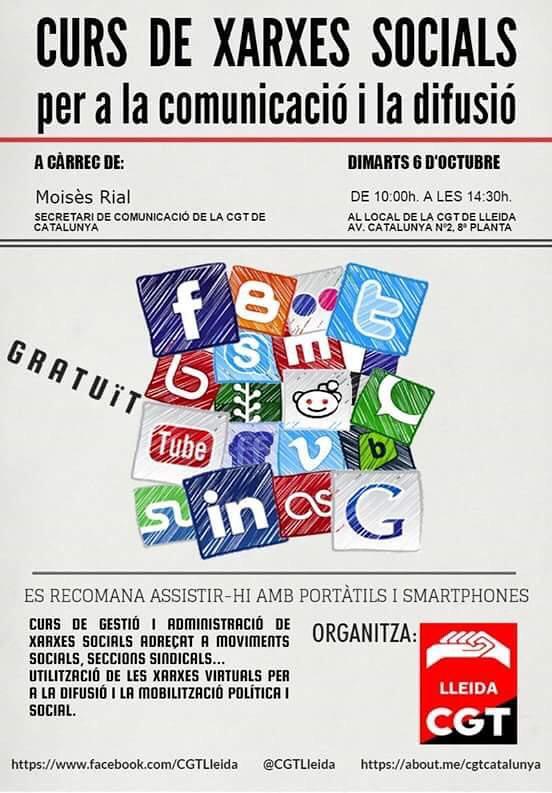 Curs de Xarxes Socials per a la Comunicació i la difusió, el 6 d´octubre a Lleida