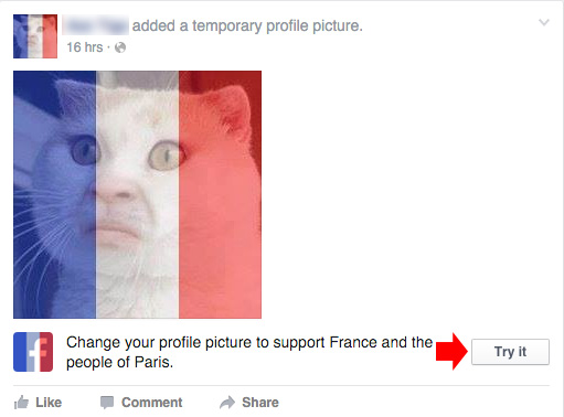 Change fb profile pic to french flag