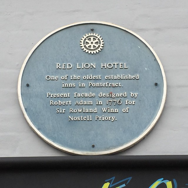 Photo of Robert Adam, Red Lion Hotel, Pontefract, and Rowland Winn blue plaque