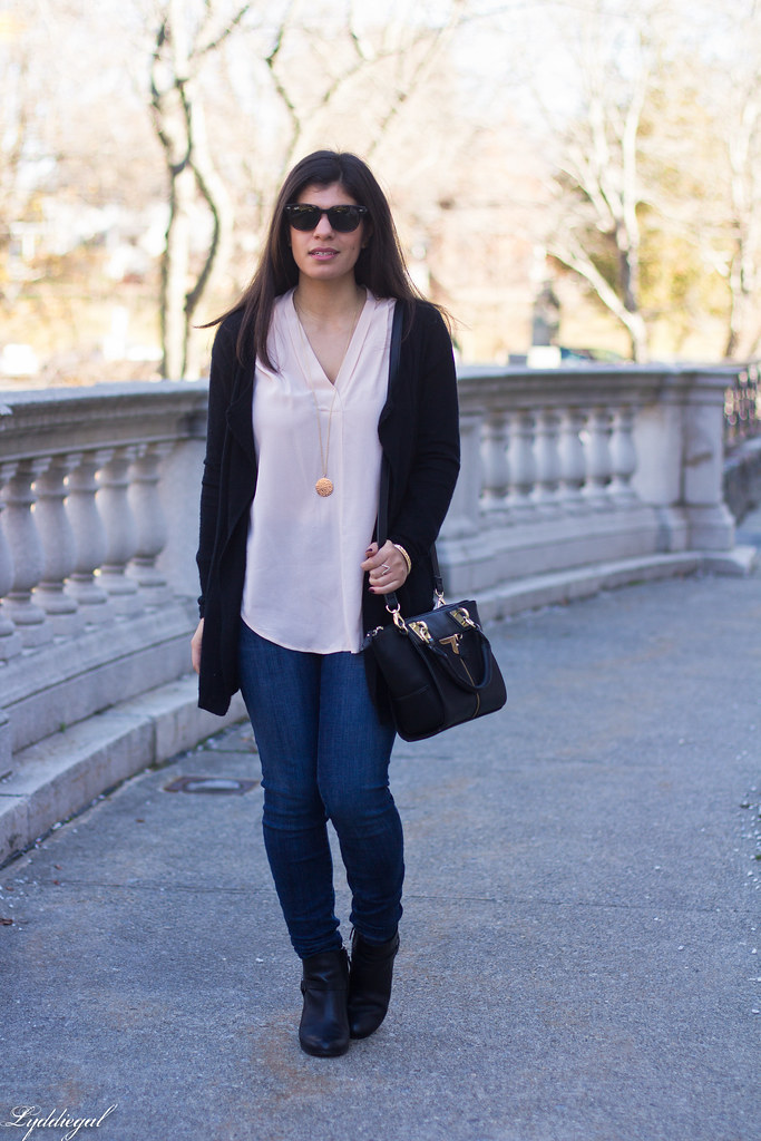 pink silk blouse, jeans, black cardigan, booties-2.jpg