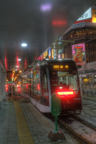 Susukino tramstop at Sapporo in evening on DEC 27, 2015 (25)
