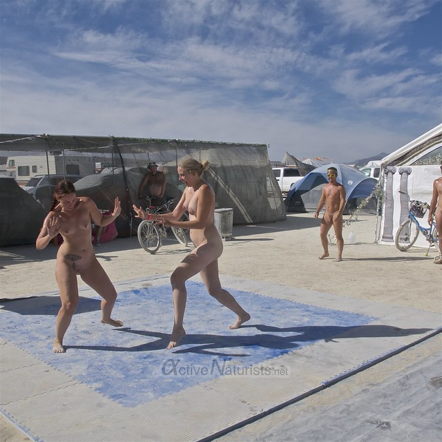 naturist wrestling camp Gymnasium 0023 Burning Man, Black Rock City, NV, USA