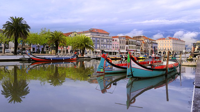 The colourful Moliceiros at the serene waters of Aveiro