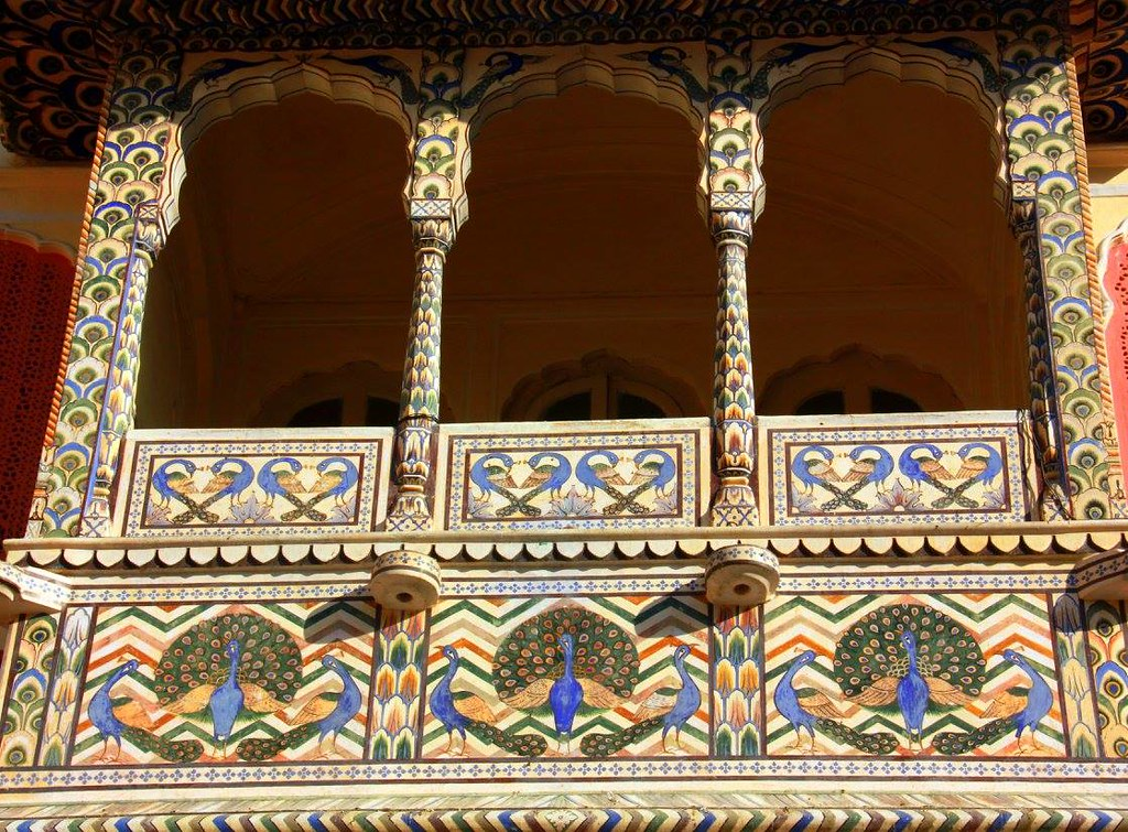 floral balconies at city palace jaipur