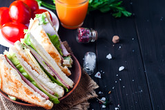homemade sandwich with salad and juice as a health…