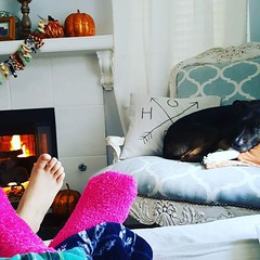 Me, sweet cass and #goaliegirl the morning after her championship win. Oh! The delight of just being home. #home. #diyonadime #homedecor #shabbyglam #shabbychicdecor #throwpillows #dogsofinstagram #dogstagram #dogs The sequel to #FirstCrush is almost done