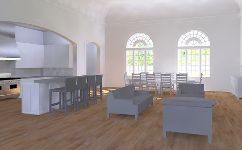 home church conversion autocad sketchup renovation residence rendering kerkythea